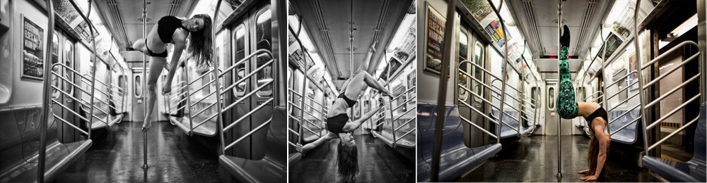 Pole Dancer Marlo Fisken dancing in a subway