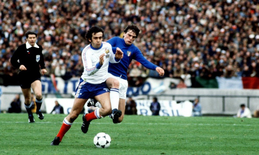 Michel Platini, football legend dribbling