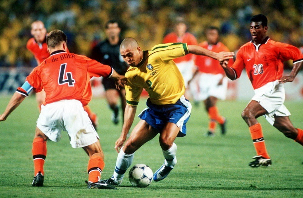 Ronaldo at the 1998 World Cup playing for Brazil
