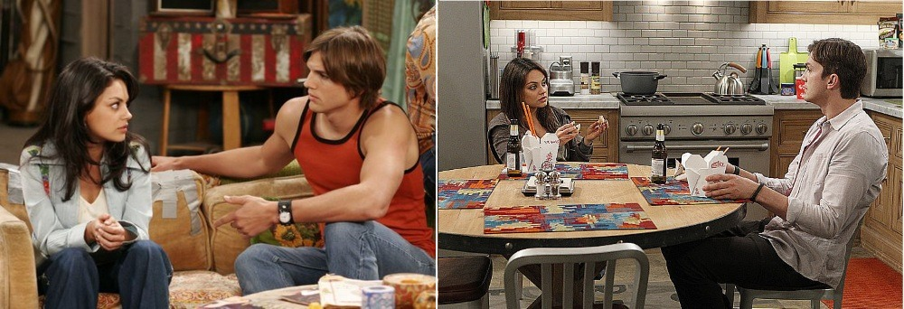 Ashton Kutcher and Mila Kunis in That 70s Show and in Two and a Half Men