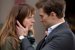 romantic kiss scene from movie 50 shades of grey