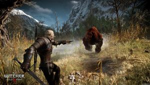 bear attack, PS4 game, The Witcher 3: Wild Hunt