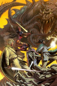 Kirana Ti, Streen, Kyp Durron and Dorsk 82 fight the leviathan.